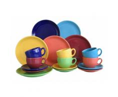 "CreaTable Kaffeeservice ""TOP - bunt"" (18-teilig), bunt, Neutral, dunkelblau-grün-gelb-orange-hellblau-bordeaux"