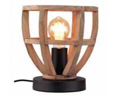 Brilliant Leuchten Matrix Wood Tischleuchte 20cm antik holz/schwarz korund braun Tischleuchten SOFORT LIEFERBARE Lampen