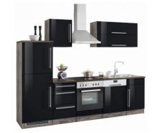 HELD MÖBEL Küchenzeile Samos, schwarz, schwarz Hochglanz