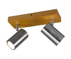 TRIO Leuchten Deckenstrahler Marley, Deckenspot, GU10, 1 St., mit Holz Baldachin, Strahler dreh- und schwenkbar, GU10 Leuchtmittel frei wählbar braun Spots Lampen sofort lieferbar