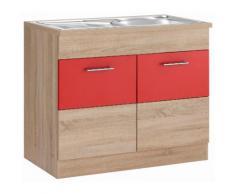 HELD MÖBEL Spülenschrank Perth rot Spülenschränke Küchenschränke Küchenmöbel Schränke