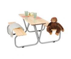 Pinolino Kindersitzgruppe Michel, Tisch mit 2 Sitzbänken, für Kinder ab 3 Jahren beige Kinderstühle Kindermöbel