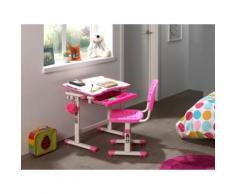 Vipack Kinder-Schreibtisch und Stuhl Comfortline ergonomisch höhenverstellbar, rosa, weiß/rosa