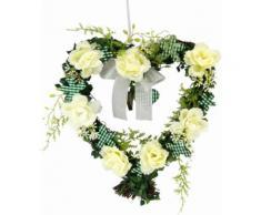 Kunstpflanze Herz Rosen 25/26 cm, weiß, weiß