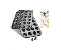 Zenker Cake-Pop-Form (Set 5tlg Set aus einem Unter- und Oberbackblech 2 Halteklammern 48 Stielen und 48 Klarsichtbeuteln), grau, Neutral, grau