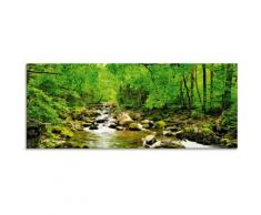 Artland Glasbild Herbstwald Fluss Smolny grün Glasbilder Bilder Bilderrahmen Wohnaccessoires