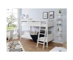 Ticaa Etagenbett Erni, mit Rollrost wahlweise Matratze, Buche weiß Kinder Kinderbetten Kindermöbel
