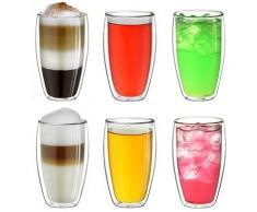 Creano Thermoglas, (Set, 6 tlg., 6er Set), hoch, 400 ml, 6-teilig farblos Doppelwandige Gläser Glaswaren Haushaltswaren Thermoglas