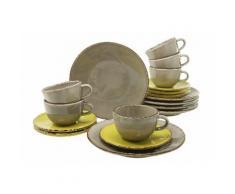 """CreaTable Kaffeeservice """"ORGANIC"""" (18-tlg) Steingut, grün, olivgrün-schlamm"""
