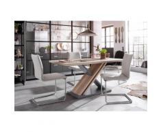 Homexperts Essgruppe Jax Breite 140 cm mit 4 Stühlen, grau, wildeichefarben/grau