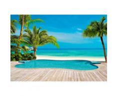 Fototapete Palmen Pool 366/254 cm, blau, blau