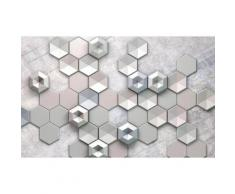 Komar Fototapete Hexagon Concrete 400/250 cm, silberfarben, silberfarben