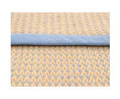 carpetfine Teppich Sisal Sofia, rechteckig, 5 mm Höhe, Wendeteppich aus 100% Jute, Wohnzimmer blau Schlafzimmerteppiche Teppiche nach Räumen
