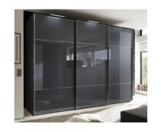 nolte Möbel Schwebetürenschrank Marcato 3, grau, Korpus Graphit,Front Basaltglas