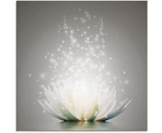 Artland Glasbild Magie der Lotus-Blume grau Glasbilder Bilder Bilderrahmen Wohnaccessoires