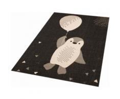 Kinderteppich Pinguin Rico Zala Living rechteckig Höhe 4 mm maschinell gewebt, schwarz, Neutral, schwarz-weiß