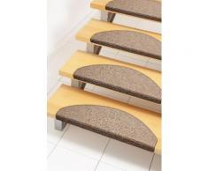 Andiamo Stufenmatte Bob, halbrund, 4,5 mm Höhe, melierte Schlinge, erhältlich als Set mit 2 Stück oder 15 braun Stufenmatten Teppiche