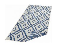 bougari Läufer Rio, rechteckig, 5 mm Höhe, Wendeteppich, Rauten Design, In- und Outdoor geeignet, Wohnzimmer blau Teppichläufer Teppiche Diele Flur