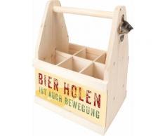 Contento Flaschenkorb Bierholen ist auch Bewegung, (1 tlg.), aus europäischem Holz beige Körbe Boxen Regal- Ordnungssysteme Küche Ordnung