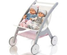 "MUSTERKIND Puppen-Zwillingsbuggy ""Barlia grau/weiß"", weiß, Damen, weiß-grau"