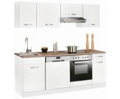 Küchenzeile Falun, mit E-Geräten, Breite 210 cm Fräsungen in den Fronten EEK D weiß Küchenzeilen Geräten -blöcke Küchenmöbel Arbeitsmöbel-Sets