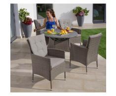 KONIFERA Gartenmöbelset Mailand, (13 tlg.), 4 Sessel, Tisch Ø 100 cm, Polyrattan grau Gartenmöbel Gartenparty Aktionen Themen