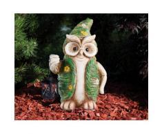 HGD Holz-Glas-Design XL-Eule-Frühlingsedition aus Keramik mit Metall-Laterne grün Tierfiguren Figuren Skulpturen Wohnaccessoires Saisonartikel Ostern