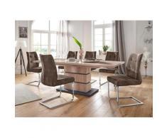 Homexperts Essgruppe Bonnie Breite 140 cm mit 4 Stühlen, beige, wildeichefarben/braun