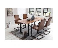 SalesFever Essgruppe, (Set, 5 St.), bestehend aus 4 modernen Freischwinger Stühlen und einem Baumkantentisch 180 cm braun Essgruppen Tische Essgruppe