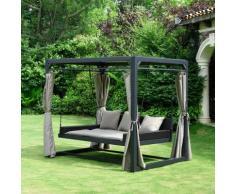 HOME DELUXE Pavillon Provence, (Set), BxT: 236x180 cm, mit Rattanbett und Schiebedach grau Pavillons Garten Balkon