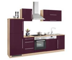 HELD MÖBEL Küchenzeile Samos ohne E-Geräte Breite 280 cm, lila, aubergine Hochglanz/eiche