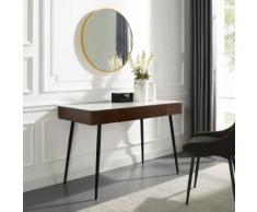Leonique Schminktisch Malou, Konsolentisch, Schreibtisch mit Keramiktischplatte in Marmoroptik braun Schminktische Tische