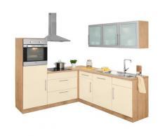 wiho Küchen Winkelküche Aachen ohne E-Geräte Stellbreite 210 x 220 cm, gelb, vanille