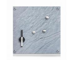 Zeller Present Pinnwand Schiefer, Glas, grau 40x40 Büroaccessoires Wohnaccessoires