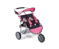 "CHIC2000 Puppen-Zwillingsbuggy ""Zwillings-Jogger pink checker"", rosa, pink"