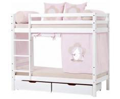 Hoppekids Etagenbett Fairytale Flower, inkl. Vorhang-Set, 2 Matratzen und Rollroste rosa Kinder Kindermöbel Möbel sofort lieferbar