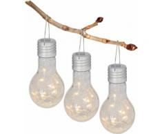 näve LED Gartenleuchte, LED-Board, Warmweiß, Solarleuchte aus Glas in Glühbirnenform silberfarben Gartenleuchte LED-Lampen LED-Leuchten Lampen Leuchten sofort lieferbar