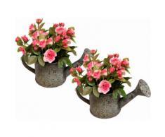 Kunstpflanze Wildrosen in Gießkanne (2er Set) (Set 2 Stück), rosa, rosa