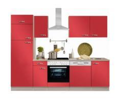 Optifit Küchenzeile mit E-Geräten »Faro«, Breite 270 cm, rot, Rot glanz