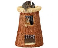 SILVIO design Tierkorb Korbturm Weide braun Katzenkörbe -kissen Katze Tierbedarf