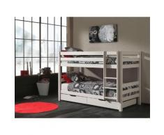 Vipack Etagenbett Pino, mit Rollroste und Schubkästen weiß Kinder Kinderbetten Kindermöbel