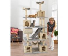 ABUKI Kratzbaum Fluffy, hoch, BxTxH: 81x61x200 cm grau Kratz- Kletterbäume Katze Tierbedarf