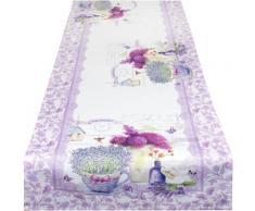 Delindo Lifestyle Tischläufer Lavendel TÖPFCHEN, (1 St.), Strukturgewebe, bedruckt lila Tischwäsche
