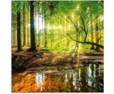 Artland Glasbild Wald mit Bach, Wald, (1 St.) grün Glasbilder Bilder Bilderrahmen Wohnaccessoires