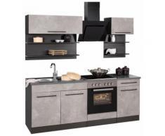 HELD MÖBEL Küchenzeile Tulsa, ohne E-Geräte, Breite 210 cm, schwarze Metallgriffe, hochwertige MDF Fronten grau Küchenzeilen Geräte -blöcke Küchenmöbel Arbeitsmöbel-Sets