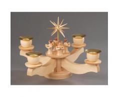 Albin Preissler Adventsleuchter Kerzenleuchter mit Engelsfiguren, Handwerkskunst aus dem Erzgebirge, inklusive Tannenkranz beige Kerzenhalter Kerzen Laternen Wohnaccessoires