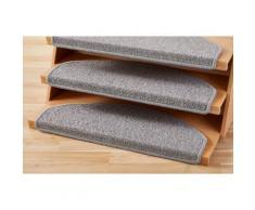 Andiamo Stufenmatte Bob, halbrund, 4,5 mm Höhe, melierte Schlinge, erhältlich als Set mit 2 Stück oder 15 grau Stufenmatten Teppiche