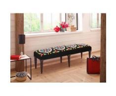 Home affaire Polsterbank Siddham, mit Stickereien und aufgenähten Stoffen, handgefertigt schwarz Polsterbänke Sitzbänke Stühle