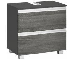 Held Möbel Waschbeckenunterschrank Ohio, graphitgrau/Eiche rauchsilber