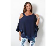 MIAMODA 2-in-1 Shirt mit asymmetrischem Chiffon-Überwurf blau Damen 3/4 Arm Shirts Sweatshirts (mit Arm)